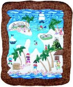 The Pirate Treasure Map Quilt digs deep into the imagination of young treasure hunters and explorers. This applique designed richly embellished with tropical islands, colorful pirates and treasure chests, this quilt is sure to excite the hidden adventurer in any child. The background is composed of fuzzy cut, textured fabrics, which not only enhance the embroideries, but stimulate the senses.