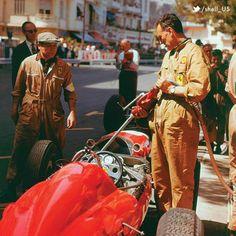 "motorsportsarchives: "" 1963 GP Monaco Ferrari refueling. """