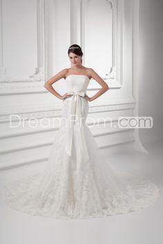 Wedding Dresses Trumpet/Mermaid Strapless Sleeveless Natural Zipper Court TRAIN Tulle Buttons//Appliques