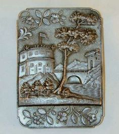1847 Coin Silver Castle Top Card Case By Leonard