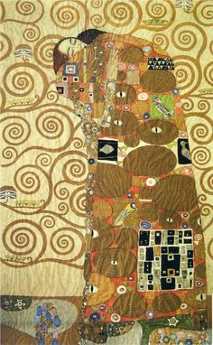Cartoon for the Frieze of the Villa Stoclet in Brussels: Fulfillment, 1905-1909 - Gustav Klimt - Golden phase