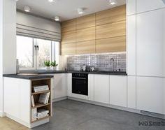 Nowoczesna kuchnia III - Mała otwarta wąska kuchnia w kształcie litery g w aneksie z oknem, styl skandynawski - zdjęcie od WOSMEBL Rzeszów Meble na wymiar