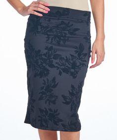 Loving this Black Floral Pencil Skirt on #zulily! #zulilyfinds