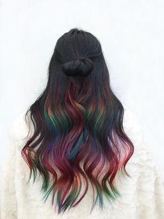 Pretty Hair Color, Hair Color For Black Hair, Hidden Hair Color, Fantasy Hair Color, Creative Hair Color, Hair Dye Colors, Dye My Hair, Aesthetic Hair, Crazy Hair