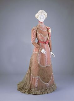 Pink afternoon dress with sheer overlay, with lace details and floral ribbon sash, American, 1900-01