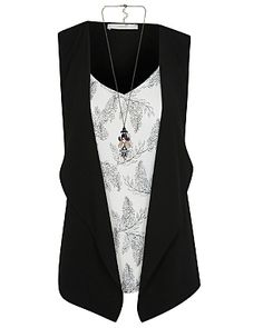 Leaf Print Blouse, Waistcoat and Necklace Set