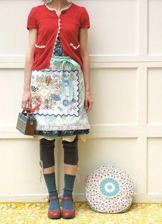 Dottie Angel: handmade goodness -- granny style, love the leggings + skirt + apron :-) Granny Chic, Granny Style, Only Cardigan, Red Cardigan, Cardigan Fashion, Sweater, Dottie Angel, Moda Vintage, Mori Girl