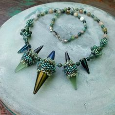"""Danza delle streghe"" beaded necklace - czech spike beads, TOHO seed beads, jasper"