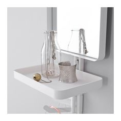 ALGOT Wall upright/mirror/triple hook, white