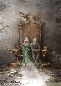 Fresh work in progress! This was part of my demo down at Industry Workshops this past weekend (which was so fun) and now that I'm home, I'm hoping to get this finished up soon. Aelin & Rowan having a quiet moment on the broken throne of Terrasen (or...