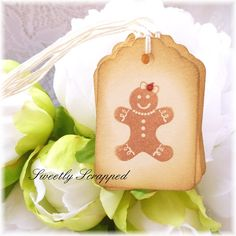 Gingerbread Tags Red Sparkle Bow Christmas
