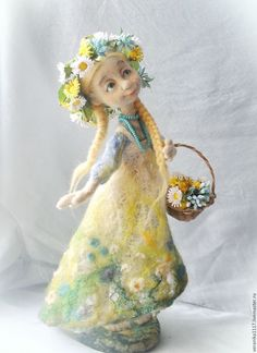 """Коллекционные куклы ручной работы. Войлочная кукла """"Полевые цветы"""". Vera1117. Ярмарка Мастеров. Лето, деревенский стиль"""