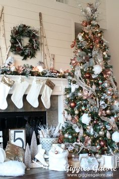 Shiplap, copper and winter whites create a stunning Glam Metallic Farmhouse Christmas Tree that will make your holidays shine. MichaelsMakers