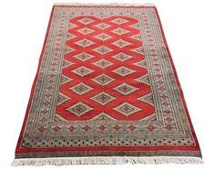 Authentic Karachi Jaldar Carpet Red 180cm X120cm Online In South Africa