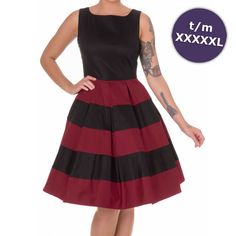 Swing Anna jurk met gestreepte rok zwart/bordeaux - Vintage 50's Rockabilly retro - XXXL/NL46 - Dolly And Dotty