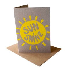Sunshine,yellow,screen,printed,card,cards, sunshine, screen printed