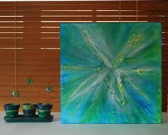 Abstract acrylic painting  turquoise original by NewCreatioNZ, $49.00