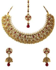 Voylla Red Crystals Studded Choker Necklace Set