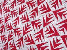 Turkey Red Palm patchwork quilt, dates 1860-1880s