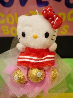 Hello Kitty plush mini flower bouquet with Ferrero Rocher chocolates. *** Valentine's day gift idea!