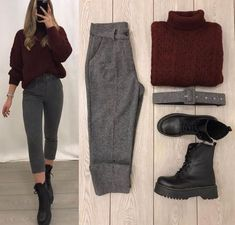 Dm for credit Casual Winter Outfits, Winter Fashion Outfits, Classy Outfits, Stylish Outfits, Cute Outfits, Girls Fashion Clothes, Latest Outfits, Black Jeans, Profile