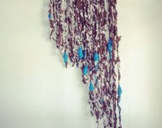 Yarn Wall Hanging Hand Spun Alpaca and Wool with Blue White and Brown using Natural Wood