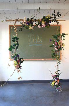 floral framed chalkboard