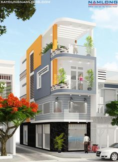 mau thiet ke nha dep House Outer Design, House Front Design, Small House Design, Modern House Design, Narrow House Designs, Indian House Plans, Pooja Room Door Design, Model House Plan, Building A Container Home