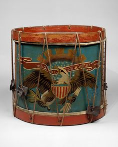 Side Drum, attributed to Ernest Vogt, Pennsylvania, ca. This side drum from the bears a stenciled eagle design that was typical of the thousands of instruments produced for use by the Union army during the Civil War. Metropolitan Museum of Art. European History, Art History, American History, Antique Toys, Vintage Toys, War Drums, Eagle Design, History Timeline, Grand Palais