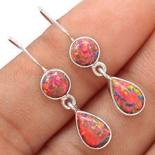 Fire Opal 925 Silver Earrings Jewelry SE117154