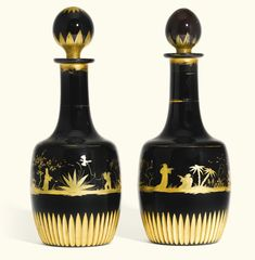 A pair of Bohemian black hyalith glass cylindrical decanters and ball stoppers, circa 1830 -- Sotheby's Glass Ceramic, Ceramic Pottery, Ceramic Art, 10 Picture, Glass House, Antique Glass, Black Glass, Czech Glass, Decorative Bells