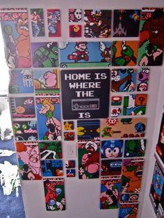 """Big Nintendo Perler Beads piece """" Home is where Nintendo Is"""" by ThePixelArtShop"""