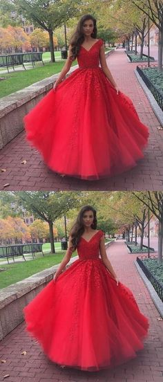 Princess Formal Dresses Long, Red Formal Dresses For Teens, Tulle Formal Dresses V Neck, Lace Formal Dresses Gorgeous #formaldressaustralia #reddress #princessdress #formal2019 Princess Prom Dresses, Prom Dresses For Teens, Prom Dresses 2018, Ball Gowns Prom, Tulle Prom Dress, Lace Evening Dresses, Cheap Prom Dresses, Simple Dresses, Party Dress