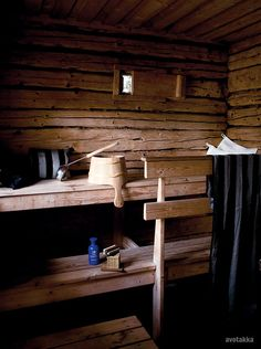 Sauna, (in the past finnish women gave birth in sauna) Finland Sauna Design, Outdoor Sauna, Finnish Sauna, Sauna Room, Tadelakt, Sweet Home, Relax, Cottage, Cabin