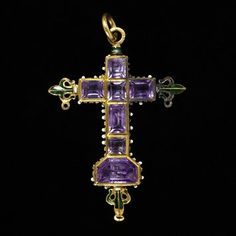 Pendant cross | Place of origin: Portugal (probably, made) | Date: 1680-1700 (made) | Materials and Techniques: Table-cut amethysts set in enamelled gold | Museum number: 344-1870