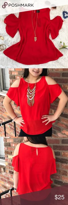 "Worthington Women Cold Shoulder Red Blouse This women cold shoulder blouse is come in a fiery red color. It's plain ans simple with a ruffle style arm. It can be wear as a sleeveless or cold shoulder. There is a button on the arm where you can take it off anytime. See the last picture. Brand new with tag, never wear.  NOTE: Model size Medium  Material: 100% Polyester  Shoulder to bottom: 23.5""  Chest:19.5""  Measurement are base on item lay flat on the floor. Worthington Tops Blouses"