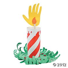 Christmas Handprint Candle Craft Kit - paper roll holder can be pre-wrapped using wrapping paper.  Kids trace their hand and cut out using yellow construction paper.  Green can be hands again or just flat green construction paper or a cute patterned paper plate or a doily.