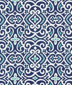 Robert Allen @ Home New Damask Marine Fabric - $19.6 | onlinefabricstore.net #navy #blue #tuquoise