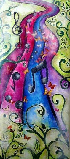 Music path prophetic art with swirly vines. Estrada ENCANT'ARTE