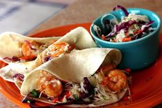 Shrimp Tacos with Sweet and Tangy Slaw are so delicious!! #shrimptacos #coleslaw