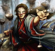 Character Concept, Character Art, Character Design, Fantasy Warrior, Red Sea, Illustrations, Detailed Image, View Image, Samurai