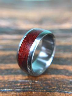 Titanium Ring Wedding Ring Wood Ring Bloodwood Ring by RobandLean