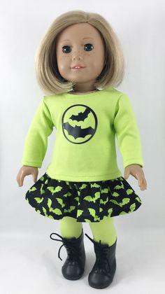 "Halloween Bats Made For 18"" American Girl Dolls Neon Green Black Graphic Tee Skirt Leggings 3 Piece Set"