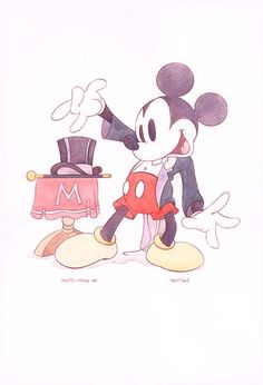 """Magician Mickey 1937"" By Bret Iwan - Original Pencil on Paper, 22x15.  #Disney #MickeyMouse #DisneyFineArt #BretIwan"