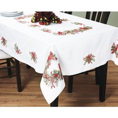 Bucilla Stamped Cross Stitch Tablecloth, 52 by 86367 Cardinals: Bucilla stamped cross stitch tablecloth kit. Kit includes stamped fabric, DMC floss requirements (floss not included) and trilingual instruction. Made in the USA Fabric Stamping, Line Shopping, Dmc Floss, Quilt Kits, Arts And Crafts Supplies, Sewing Stores, Table Linens, Cardinals, Sewing Crafts
