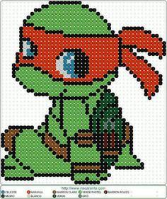 Perler Bead Designs, Perler Bead Templates, Diy Perler Beads, Pearler Bead Patterns, Perler Bead Art, Perler Patterns, Baby Ninja Turtle, Ninja Turtles, Teenage Mutant Ninja Turtles