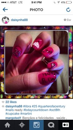 My birthday nails by @Thalita Vacca :)