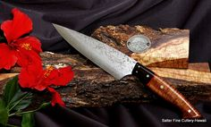 160mm hand-forged stainless damascus chef knife. www.SalterFineCutlery.com