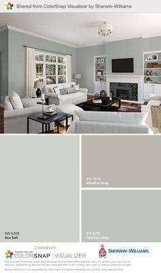 Some of our go-to paint color choices were used here:  Mindful Gray SW 7016, Sea Salt SW 6204, Comfort Gray SW6205 #swcolorlove #gotocolor #colorsnap Sherwin Williams Comfort Gray, Sherwin Williams Gray, Mindful Gray, Family Room Fireplace, Bedroom Paint Colors, Dining Room Design, Dining Rooms, Grey Kitchens, Country Kitchen