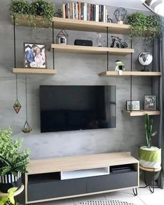 135 perfekt strukturierte Wände – Gestaltungsideen für Ihr Wohnzimmer – Seite … 135 murs parfaitement structurés – idées de design pour v… - Dinnerrecipeshealthy sites Living Room Tv Unit, Living Room Interior, Home Living Room, Living Room Designs, Tv On Wall Ideas Living Room, Living Room Shelves, Living Walls, Autumn Decor Living Room, Diy Living Wall